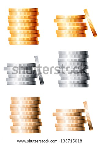Bronze, silver and gold stacks of coins isolated on white background. Jpeg (bitmap) version also available in gallery - stock vector
