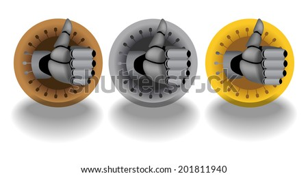 Bronze, silver, gold, vector cyborg thumb up rating icons on white background with dropping shadows - stock vector