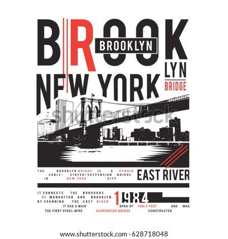 Brooklyn bridge illustration , typography, tee shirt graphics, vectors