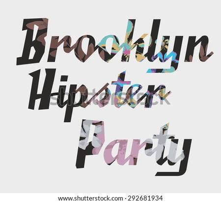 brooklyn hipster party vector art - stock vector