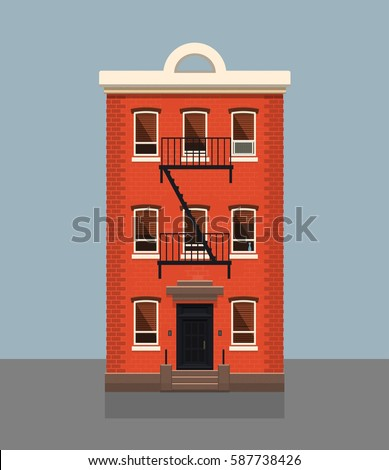 Exceptional Brooklyn Red Brick Apartment Building. Flat Vector Illustration.