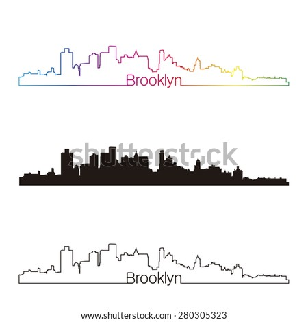 Brooklyn skyline linear style with rainbow in editable vector file