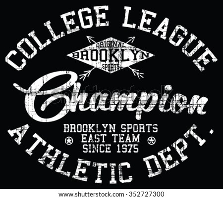 Brooklyn Sport  vector print and varsity. For t-shirt or other uses in vector.