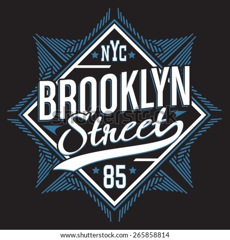 Brooklyn street typography, t-shirt graphics, vectors, sport - stock vector