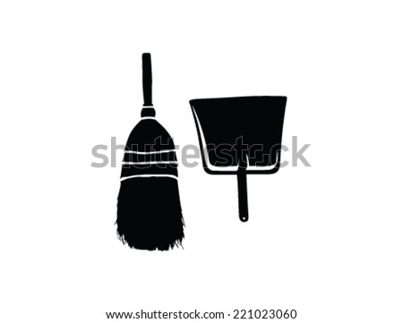 broom and dustpan vector illustration - stock vector