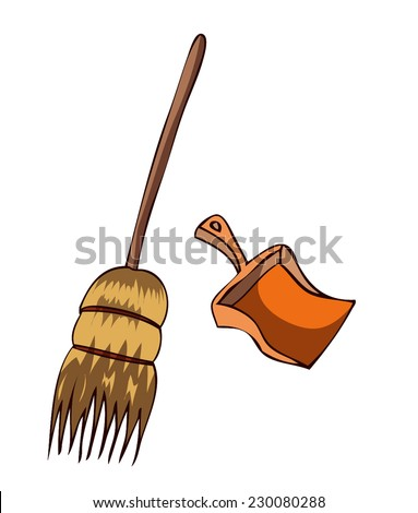 Broom and Dustpan, Vector Illustration isolated on a White Background.  - stock vector