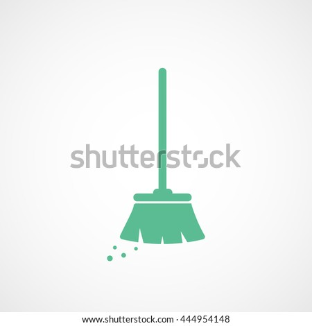 Broom Green Flat Icon On White Background