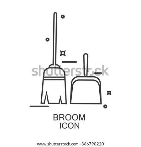 Broom icon vector. Line design  - stock vector