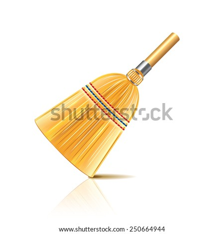 Broom isolated on white photo-realistic vector illustration - stock vector