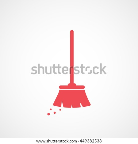 Broom Red Flat Icon On White Background