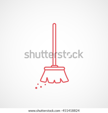 Broom Red Line Icon On White Background