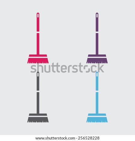 Broom vector icon. - stock vector
