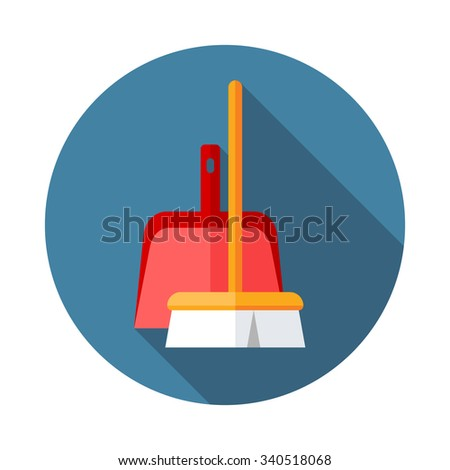 Broom vector icon. Flat modern design with shadow - stock vector