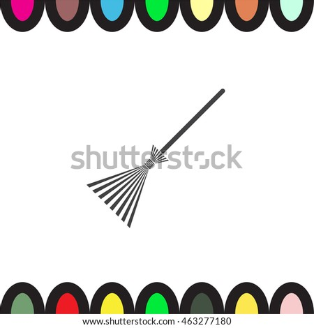 Broom vector icon. Household floor cleaner symbol. Home hygiene sign.