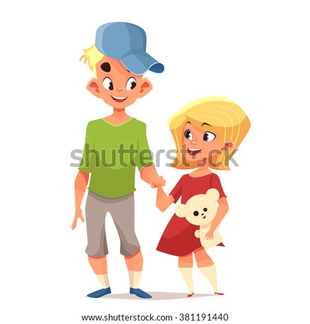 Brother and sister cute cartoon characters vector illustration - stock vector