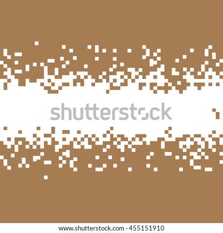 Brown Abstract Pixel Background With Space For Your Text. Vector Pixelated Border for design