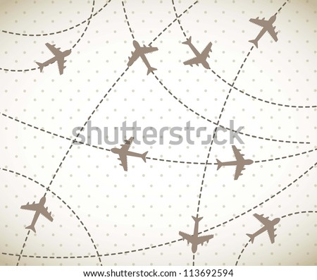brown airplanes over vintage background. vector illustration - stock vector