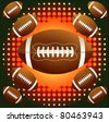 Brown american footballs on the  background with halftone - stock vector
