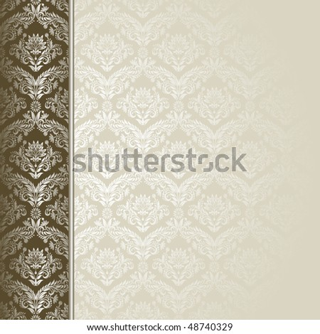 Brown and beige background with flowers and leaves . - stock vector