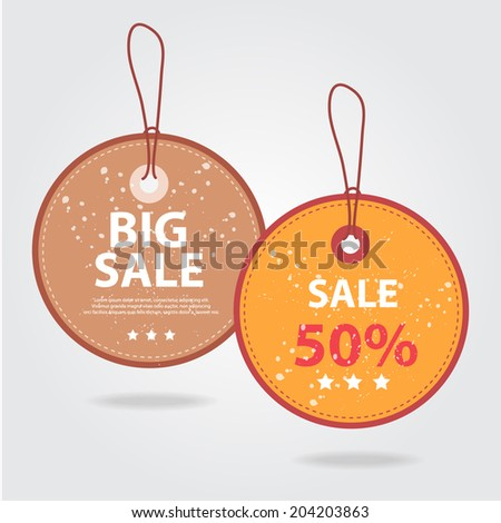 Brown and Orange Round Sale tags