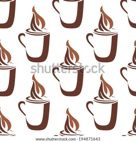 Brown and white sketch in a seamless pattern of a mug of steaming hot coffee with swirling vapor on white
