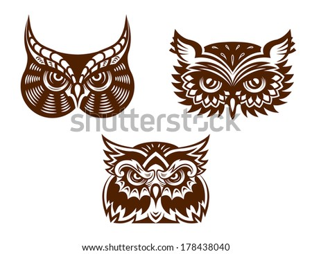 Brown and white wise old owl faces logo with decorative feather detail for tattoo or mascot design - stock vector