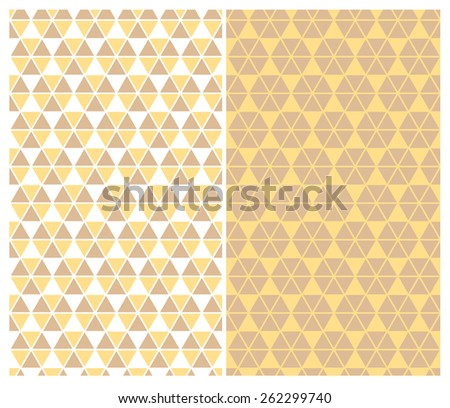 Brown and yellow geometric patterns - stock vector
