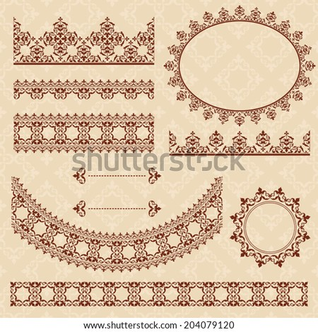 brown arabic ornamental elements - vector set. Eps 8. - stock vector