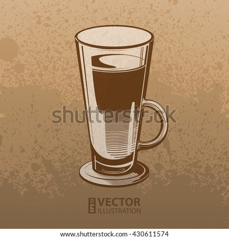 Brown artistic hand drawn coffee cup on mocha dirty grunge splats background. RGB EPS 10 vector illustration - stock vector