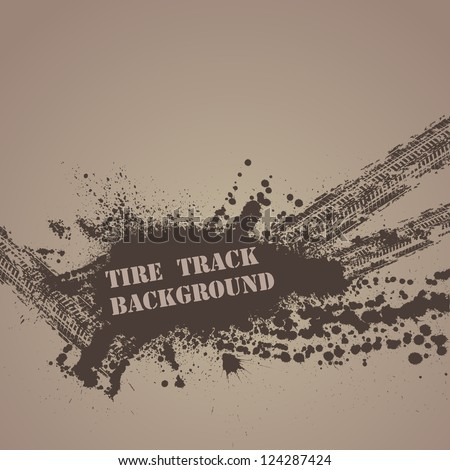 Brown background with tire tracks and ink blots - stock vector