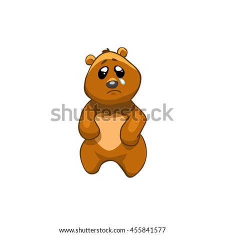 Brown Bear Cartoon Character. Emotion: crying