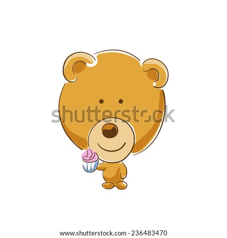 brown bear with cupcake in hand - stock vector