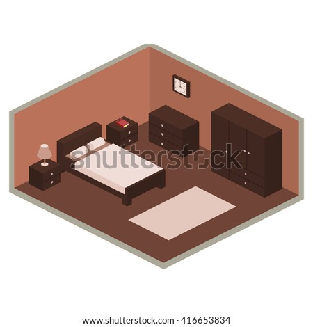 Brown bedroom design in isometric style.