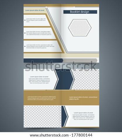 Brown bi-fold  brochure template design, business leaflet, booklet - stock vector