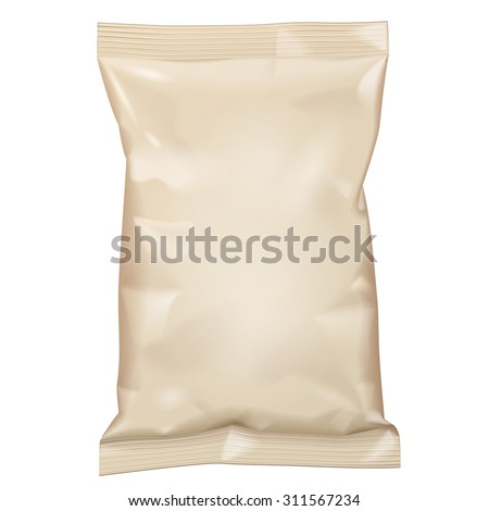 Brown Blank Foil Food Snack Sachet Bag Packaging For Coffee, Salt, Sugar, Pepper, Spices, Sachet, Sweets, Chips, Cookies. Illustration Isolated. Mock Up Template Ready For Your Design. Vector EPS10 - stock vector