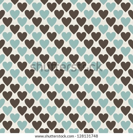 brown, blue and grey retro seamless hearts pattern in vector - stock vector
