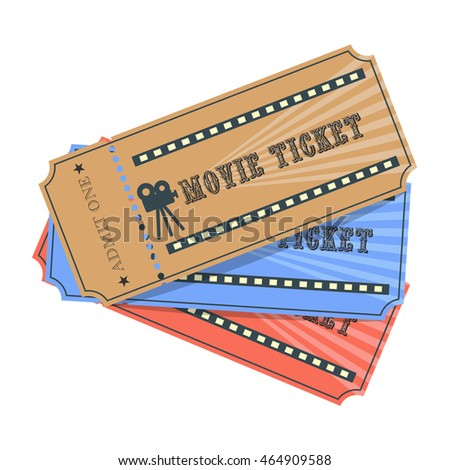 brown, blue and red retro cinema tickets. Illustration isolated on white background