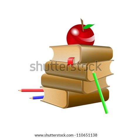 Brown books with red bookmark, red apple and three pencil . Vector illustration on white background - stock vector