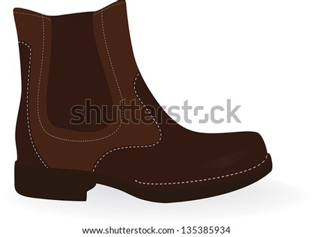 Brown  boots isolated on white. Vector illustration.
