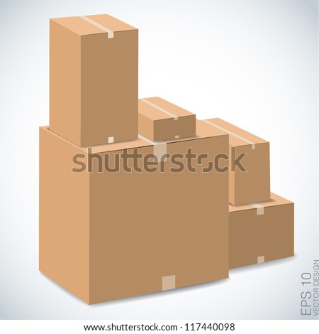 brown boxes stacked , vector design - stock vector