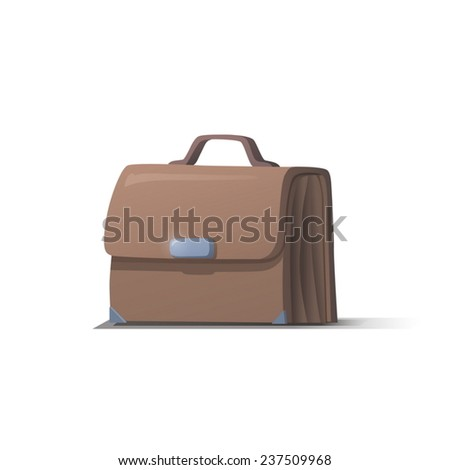 Brown briefcase with shadow on white background  - stock vector