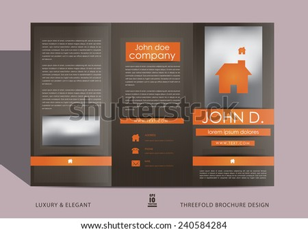 Brown brochure cover - stock vector