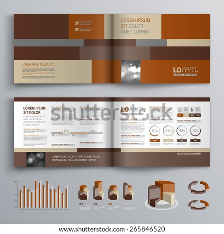 Brown brochure template design with square shapes. Cover layout and infographics - stock vector