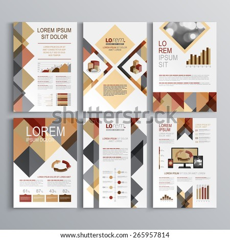 Brown brochure template design with triangle pattern. Cover layout and infographics - stock vector