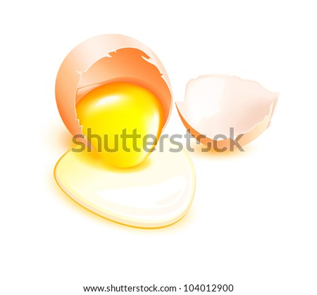 Brown broken egg with flowing yolk on white background. Vector eps10 illustration. Raster file included in portfolio