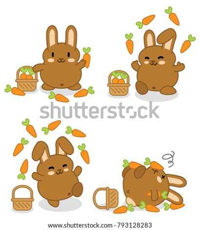 Brown bunny juggling with carrots until they fall to the ground (four kawaii vector graphics)