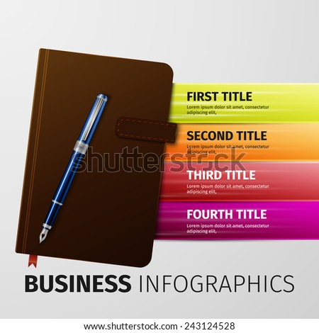 brown business notebook with pen, excellent vector illustration, EPS 10 - stock vector