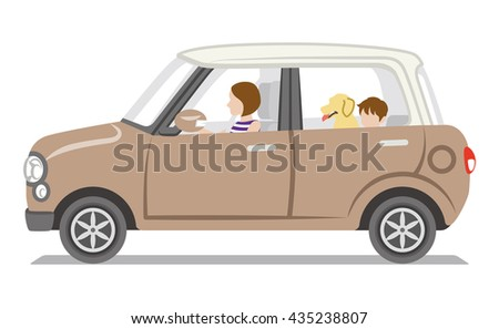 Brown car, mom and son and dog,Isolated