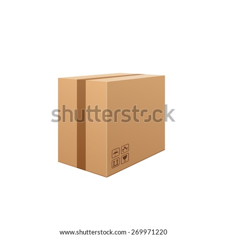 Brown cardboard box isolated on white background. Carefully, glass !. Packaging storage transportation your product. Vector illustration. - stock vector