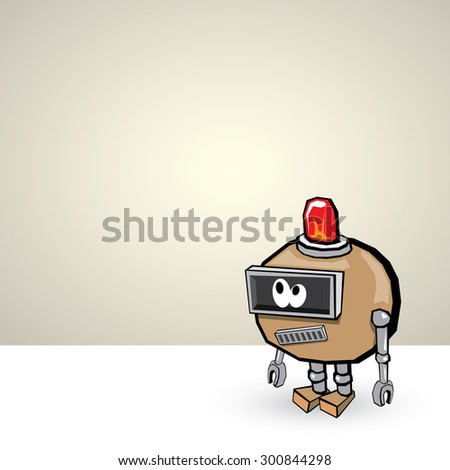 brown Cartoon 3d Robot - stock vector